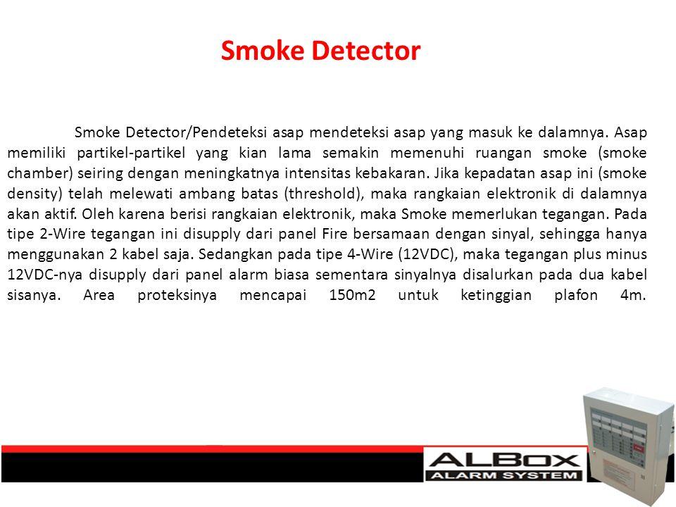 Smoke Detector/Pendeteksi asap mendeteksi asap yang masuk ke dalamnya. Asap memiliki partikel-partikel yang kian lama semakin memenuhi ruangan smoke (