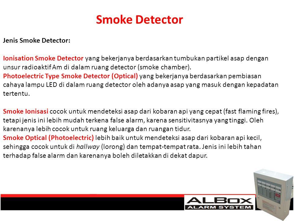 Jenis Smoke Detector: Ionisation Smoke Detector yang bekerjanya berdasarkan tumbukan partikel asap dengan unsur radioaktif Am di dalam ruang detector