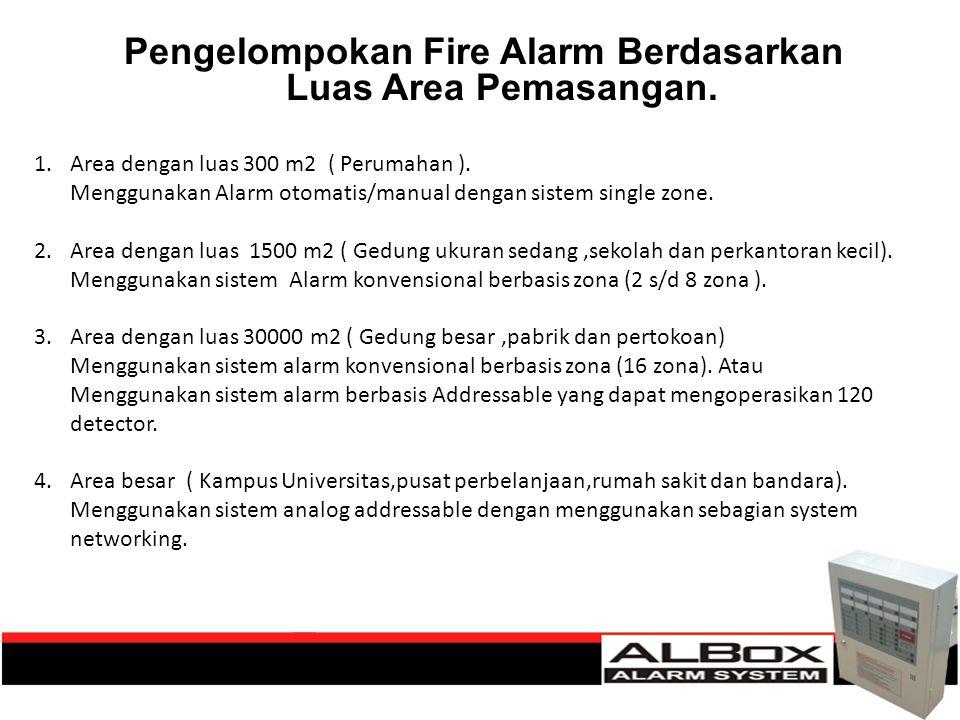 Pengelompokan Fire Alarm Berdasarkan Luas Area Pemasangan. 1.Area dengan luas 300 m2 ( Perumahan ). Menggunakan Alarm otomatis/manual dengan sistem si