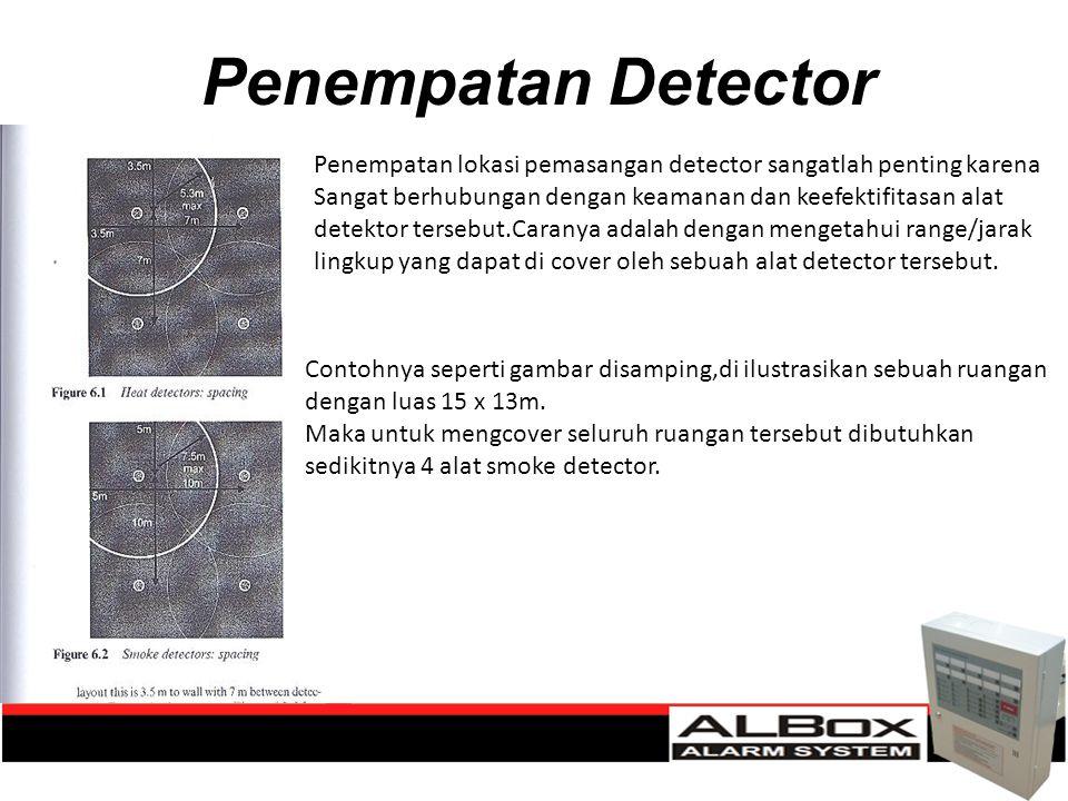 Penempatan Detector Penempatan lokasi pemasangan detector sangatlah penting karena Sangat berhubungan dengan keamanan dan keefektifitasan alat detekto