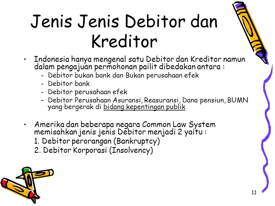 11 Jenis Jenis Debitor dan Kreditor Indonesia hanya mengenal satu Debitor dan Kreditor namun dalam pengajuan permohonan pailit dibedakan antara : - De