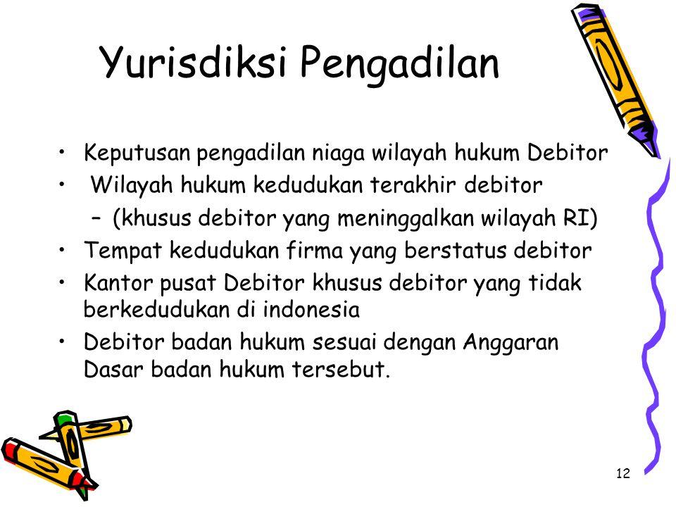 12 Yurisdiksi Pengadilan Keputusan pengadilan niaga wilayah hukum Debitor Wilayah hukum kedudukan terakhir debitor –(khusus debitor yang meninggalkan