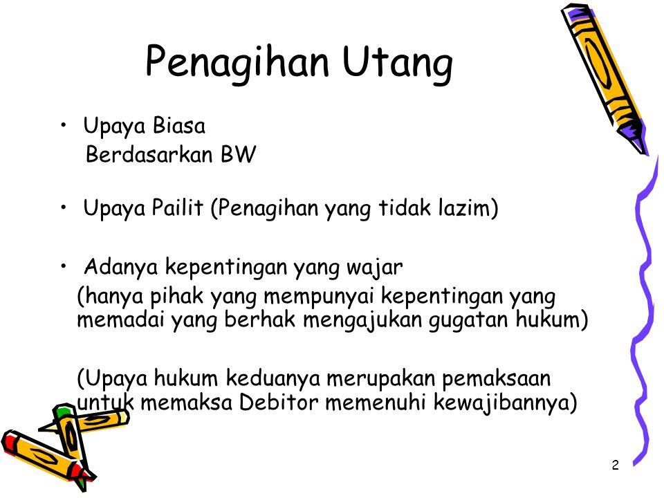 13 Permohonan Kepailitan Permohona Kepailitan oleh Debitor sendiri Permohonan Kepailitan oleh Salah satu atau lebih dari Kreditor Permohonan Kepailitan oleh Kejaksaan untuk kepentingan umum Permohonan Kepailitan oleh Bank Indonesia apabila Debitornya adalah Bank Permohonan Kepailitan oleh Bapepam apabila Debitornya adalah perusahaan efek Permohonan Kepailitan oleh Menteri Keuangan apabila Debitornya adalah perusahaan Asuransi, BUMN