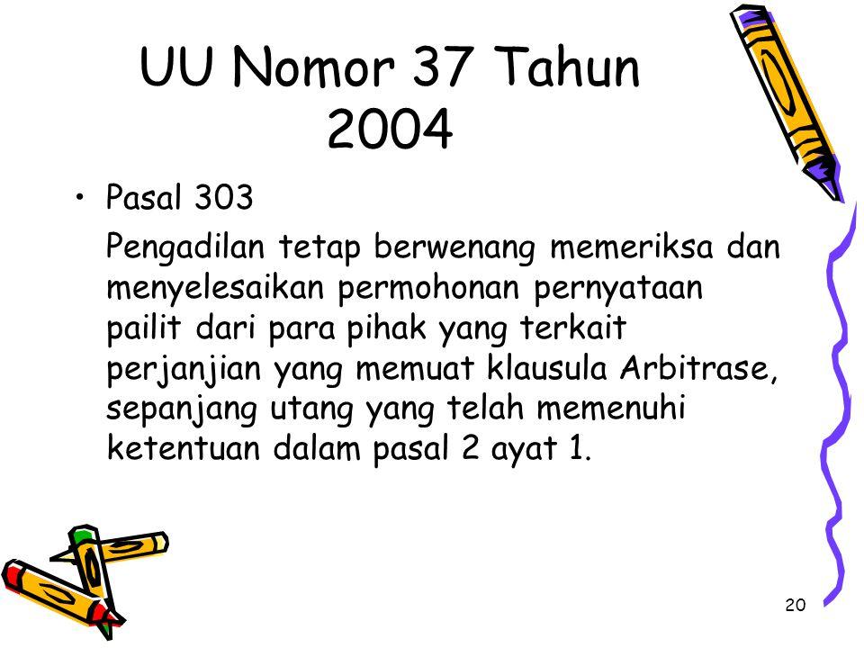 20 UU Nomor 37 Tahun 2004 Pasal 303 Pengadilan tetap berwenang memeriksa dan menyelesaikan permohonan pernyataan pailit dari para pihak yang terkait p