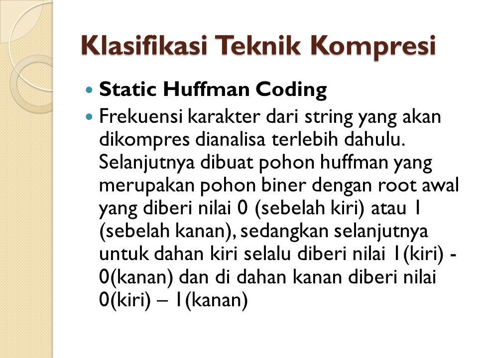 Klasifikasi Teknik Kompresi Static Huffman Coding Frekuensi karakter dari string yang akan dikompres dianalisa terlebih dahulu.