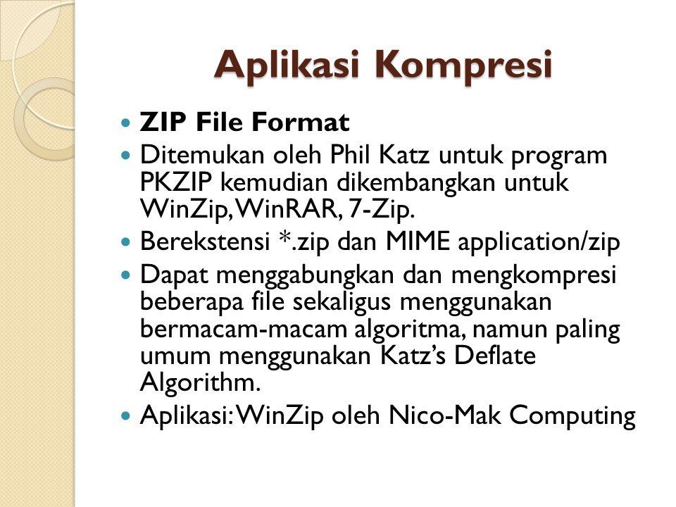 Aplikasi Kompresi ZIP File Format Ditemukan oleh Phil Katz untuk program PKZIP kemudian dikembangkan untuk WinZip, WinRAR, 7-Zip.