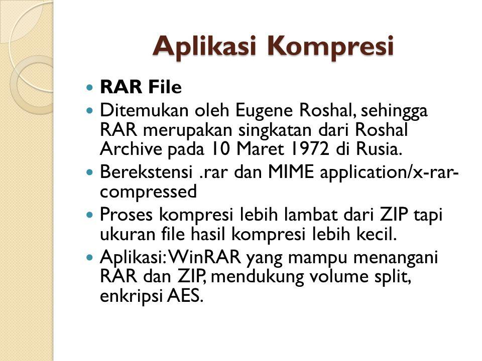 Aplikasi Kompresi RAR File Ditemukan oleh Eugene Roshal, sehingga RAR merupakan singkatan dari Roshal Archive pada 10 Maret 1972 di Rusia.