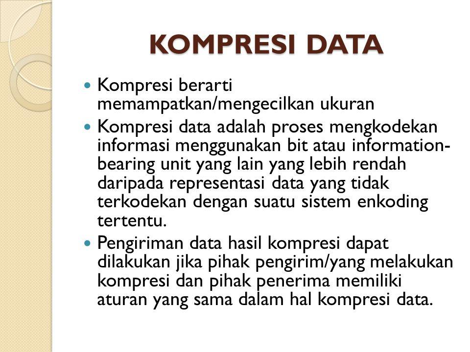 KOMPRESI DATA Kompresi berarti memampatkan/mengecilkan ukuran Kompresi data adalah proses mengkodekan informasi menggunakan bit atau information- bearing unit yang lain yang lebih rendah daripada representasi data yang tidak terkodekan dengan suatu sistem enkoding tertentu.