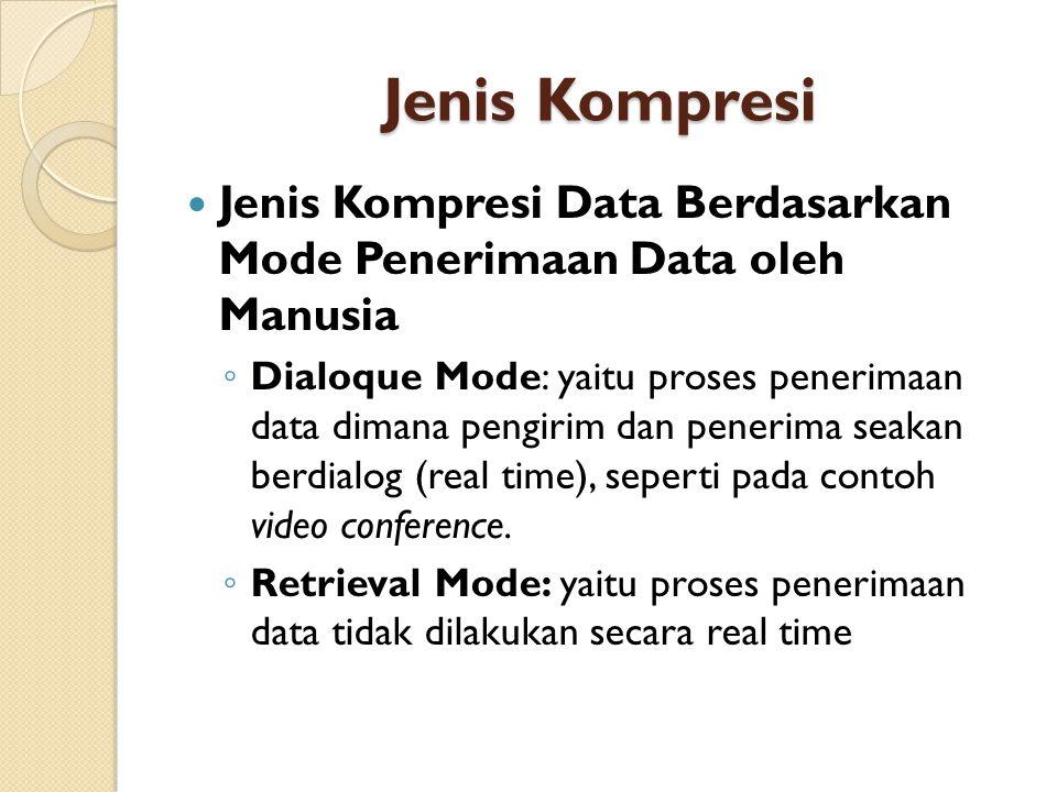 Jenis Kompresi Jenis Kompresi Data Berdasarkan Mode Penerimaan Data oleh Manusia ◦ Dialoque Mode: yaitu proses penerimaan data dimana pengirim dan penerima seakan berdialog (real time), seperti pada contoh video conference.