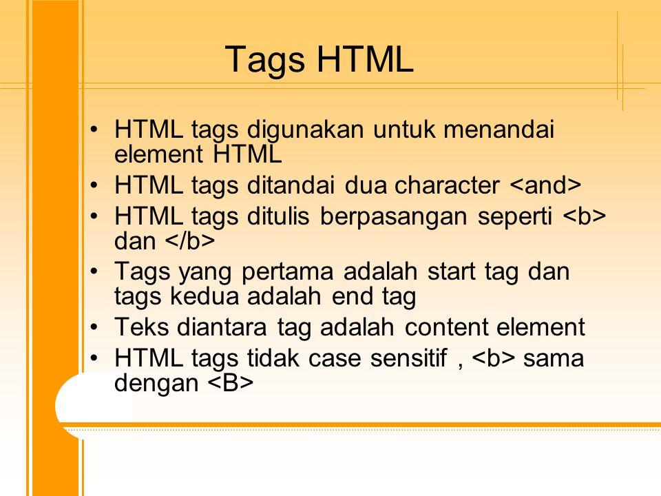 Tags HTML HTML tags digunakan untuk menandai element HTML HTML tags ditandai dua character HTML tags ditulis berpasangan seperti dan Tags yang pertama adalah start tag dan tags kedua adalah end tag Teks diantara tag adalah content element HTML tags tidak case sensitif, sama dengan