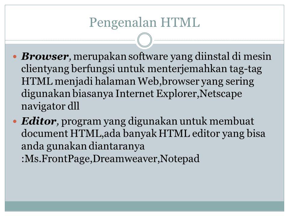 Pengenalan HTML Browser, merupakan software yang diinstal di mesin clientyang berfungsi untuk menterjemahkan tag-tag HTML menjadi halaman Web,browser