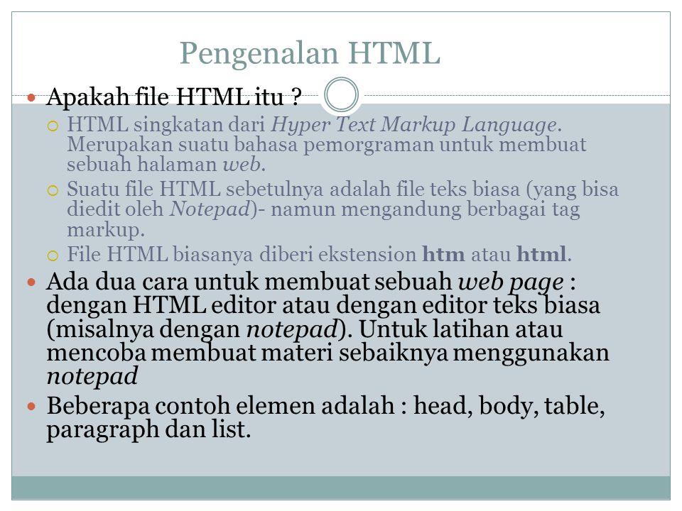 Pengenalan HTML Apakah file HTML itu ?  HTML singkatan dari Hyper Text Markup Language. Merupakan suatu bahasa pemorgraman untuk membuat sebuah halam