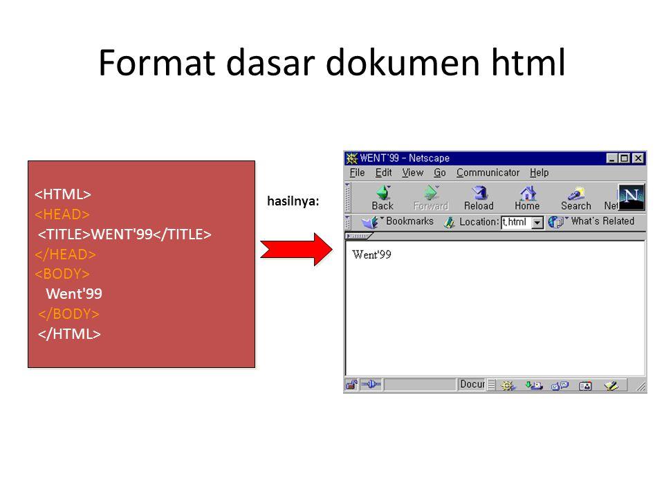 Format dasar dokumen html WENT 99 Went 99 WENT 99 Went 99 hasilnya: