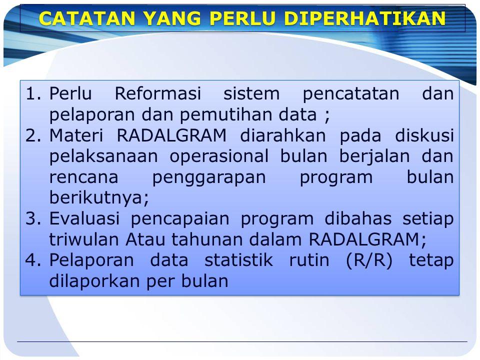1.Perlu Reformasi sistem pencatatan dan pelaporan dan pemutihan data ; 2.Materi RADALGRAM diarahkan pada diskusi pelaksanaan operasional bulan berjala