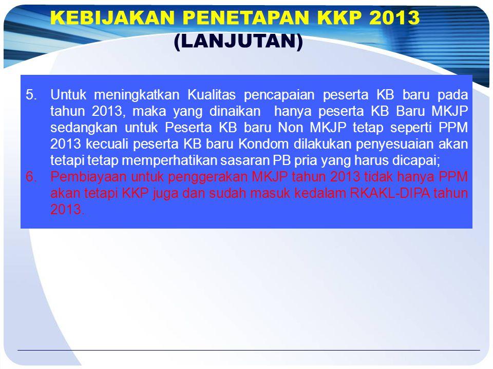 5.Untuk meningkatkan Kualitas pencapaian peserta KB baru pada tahun 2013, maka yang dinaikan hanya peserta KB Baru MKJP sedangkan untuk Peserta KB bar