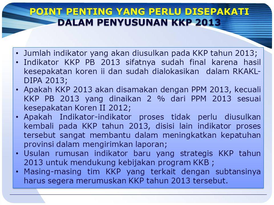 Jumlah indikator yang akan diusulkan pada KKP tahun 2013; Indikator KKP PB 2013 sifatnya sudah final karena hasil kesepakatan koren ii dan sudah dialo
