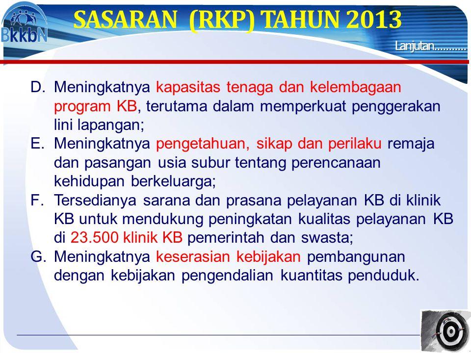 SASARAN (RKP) TAHUN 2013 D.Meningkatnya kapasitas tenaga dan kelembagaan program KB, terutama dalam memperkuat penggerakan lini lapangan; E.Meningkatn