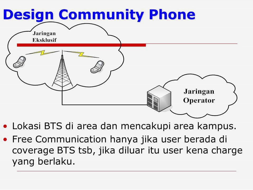 Design Community Phone Lokasi BTS di area dan mencakupi area kampus. Free Communication hanya jika user berada di coverage BTS tsb, jika diluar itu us