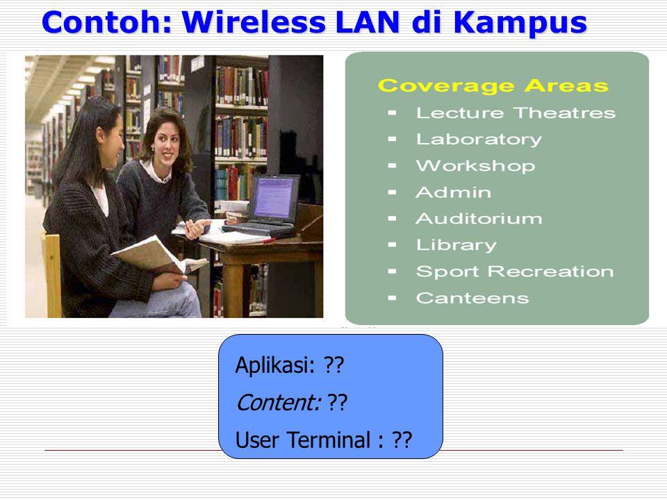 Contoh: Wireless LAN di Kampus Aplikasi: ?? Content: ?? User Terminal : ??