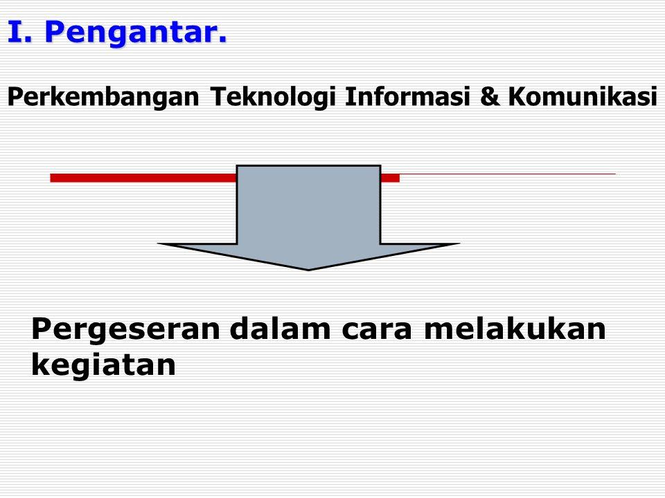 I. Pengantar. Pergeseran dalam cara melakukan kegiatan Perkembangan Teknologi Informasi & Komunikasi