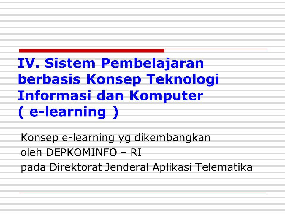 IV. Sistem Pembelajaran berbasis Konsep Teknologi Informasi dan Komputer ( e-learning ) Konsep e-learning yg dikembangkan oleh DEPKOMINFO – RI pada Di