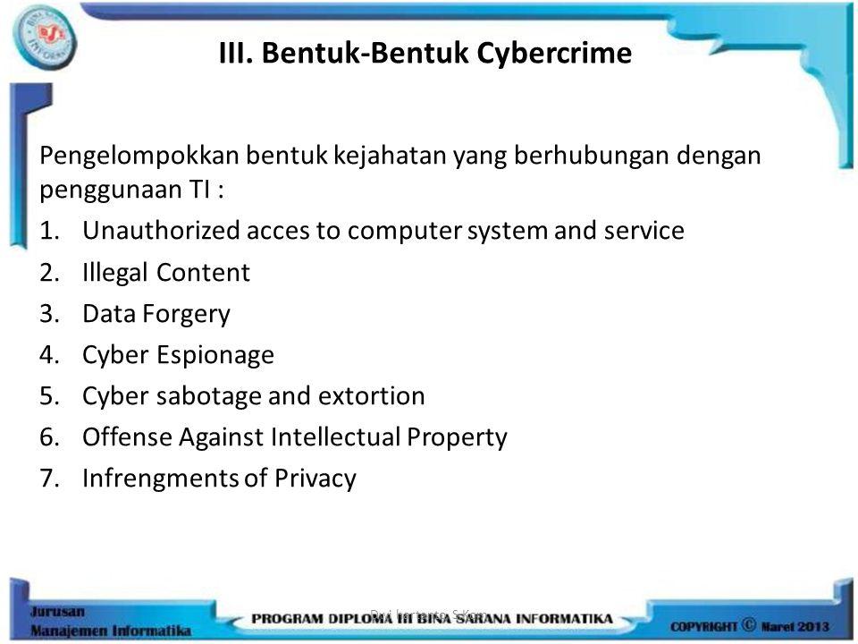 III. Bentuk-Bentuk Cybercrime Pengelompokkan bentuk kejahatan yang berhubungan dengan penggunaan TI : 1.Unauthorized acces to computer system and serv