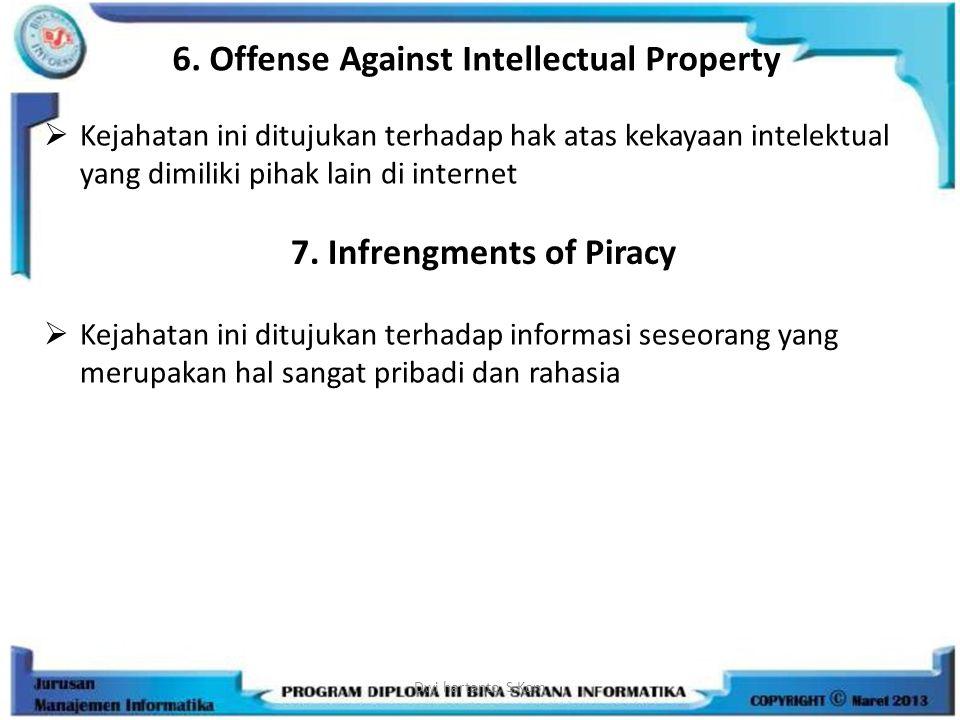 6. Offense Against Intellectual Property  Kejahatan ini ditujukan terhadap hak atas kekayaan intelektual yang dimiliki pihak lain di internet Dwi har