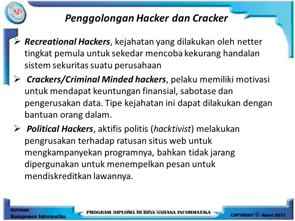 Penggolongan Hacker dan Cracker  Recreational Hackers, kejahatan yang dilakukan oleh netter tingkat pemula untuk sekedar mencoba kekurang handalan si