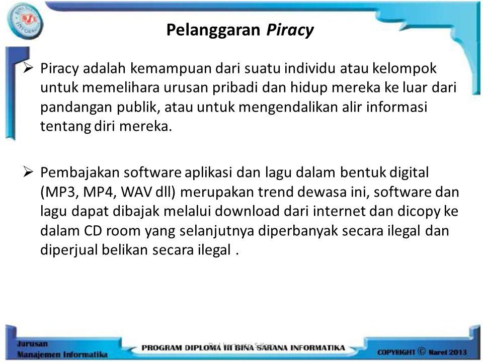 Pelanggaran Piracy  Piracy adalah kemampuan dari suatu individu atau kelompok untuk memelihara urusan pribadi dan hidup mereka ke luar dari pandangan