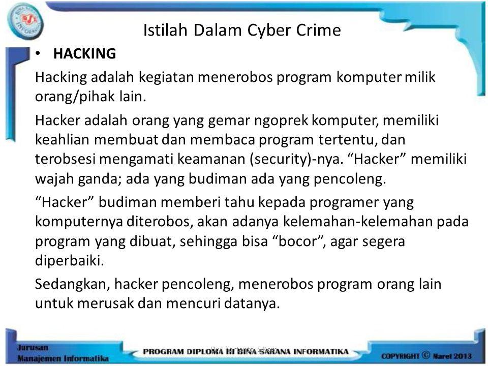 Istilah Dalam Cyber Crime HACKING Hacking adalah kegiatan menerobos program komputer milik orang/pihak lain. Hacker adalah orang yang gemar ngoprek ko