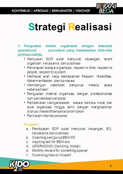 1.Penguatan sistem organisasi dengan standard operational procedure yang berdasarkan nilai-nilai profesionalitas Menyusun SOP surat menyurat, keuangan