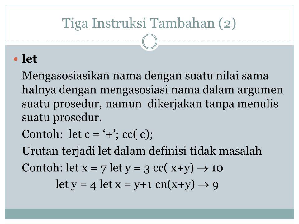 Perulangan/Repetisi Sederhana (1) *** Pola tersebut diwujudkan dengan BB; c*;c*;c*; BB; c*;c*;c* atau def r3(p) = p();p();p() akhdef def tiga() = BB; p*;p*;p* akhdef r3(tiga)