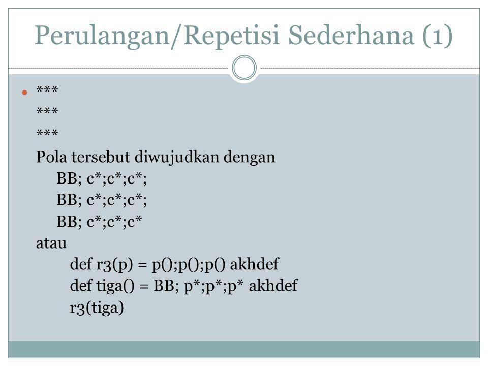 Perulangan/Repetisi Sederhana (1) *** Pola tersebut diwujudkan dengan BB; c*;c*;c*; BB; c*;c*;c* atau def r3(p) = p();p();p() akhdef def tiga() = BB;