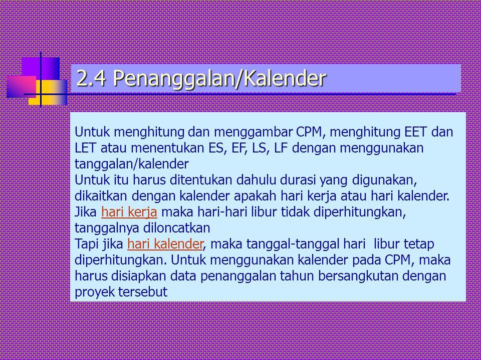 2.4 Penanggalan/Kalender Untuk menghitung dan menggambar CPM, menghitung EET dan LET atau menentukan ES, EF, LS, LF dengan menggunakan tanggalan/kalen