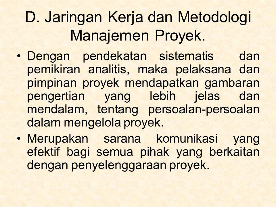 D. Jaringan Kerja dan Metodologi Manajemen Proyek. Dengan pendekatan sistematis dan pemikiran analitis, maka pelaksana dan pimpinan proyek mendapatkan