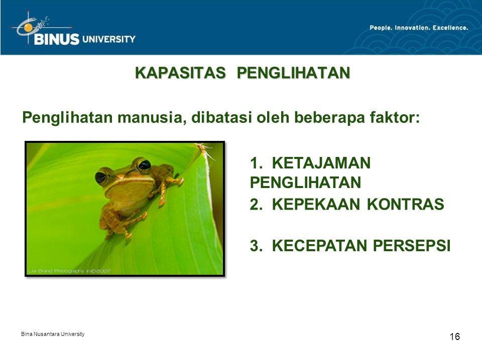 Bina Nusantara University 16 KAPASITAS PENGLIHATAN Penglihatan manusia, dibatasi oleh beberapa faktor: 1.