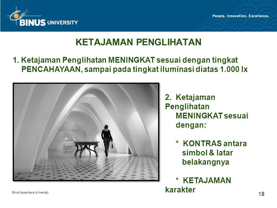 Bina Nusantara University 18 KETAJAMAN PENGLIHATAN 1.