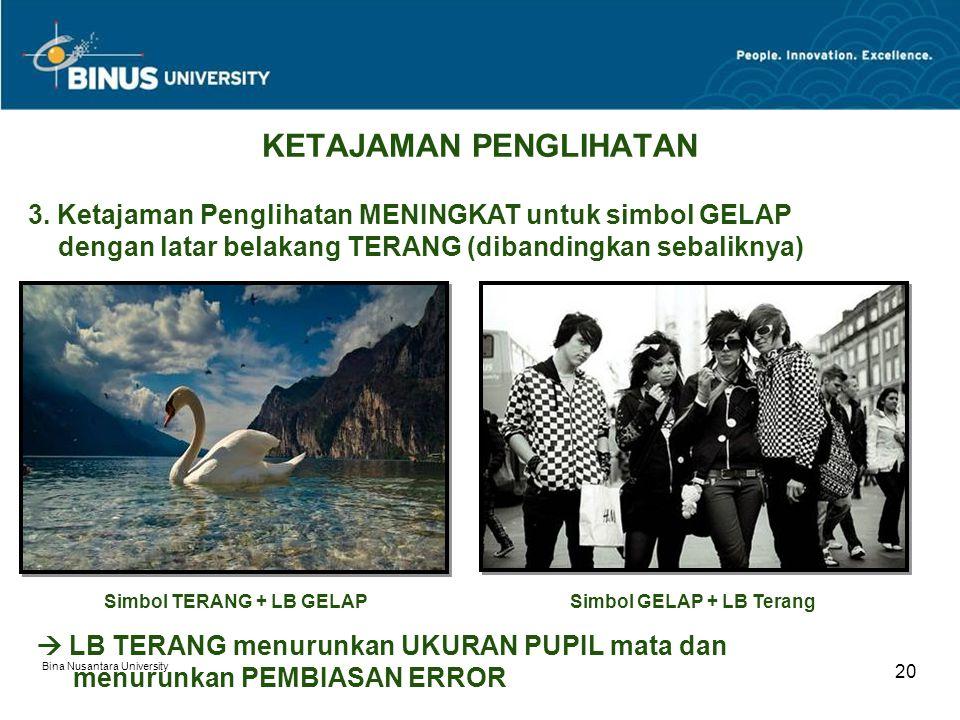 Bina Nusantara University 20 KETAJAMAN PENGLIHATAN 3.