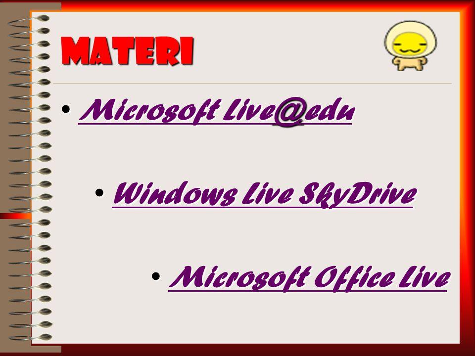 Materi Microsoft Live@eduMicrosoft Live@eduMicrosoft Live@eduMicrosoft Live@edu Windows Live SkyDriveWindows Live SkyDriveWindows Live SkyDriveWindows Live SkyDrive Microsoft Office LiveMicrosoft Office LiveMicrosoft Office LiveMicrosoft Office Live