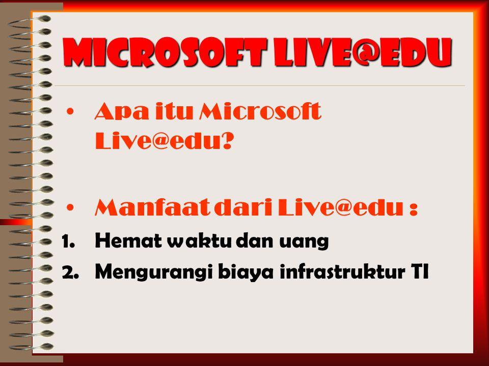 Microsoft Live@edu Apa itu Microsoft Live@edu.