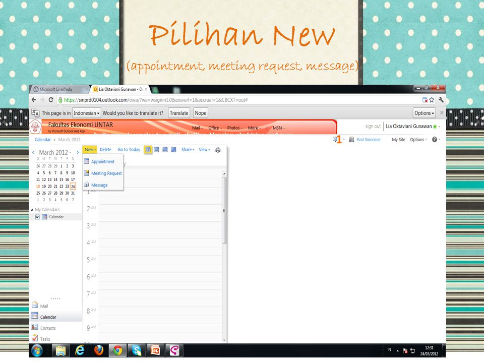 Pilihan New (appointment, meeting request, message)
