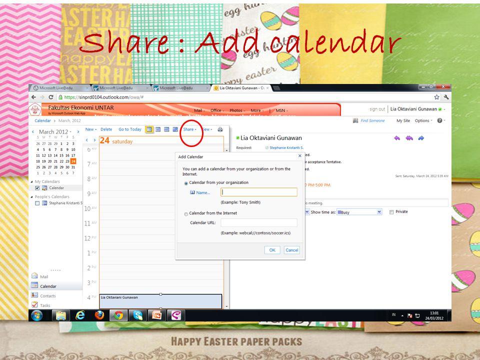 Share : Add calendar