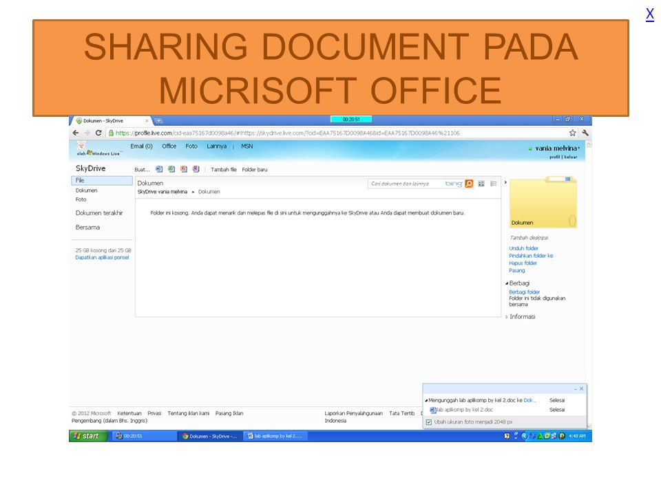 SHARING DOCUMENT PADA MICRISOFT OFFICE X