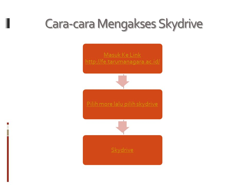 SkyDrive adalah sebuah layanan file hosting gratis dari Microsoft yang memungkinkan penggunanya menyimpan file-file mereka di internet, dengan hanya b