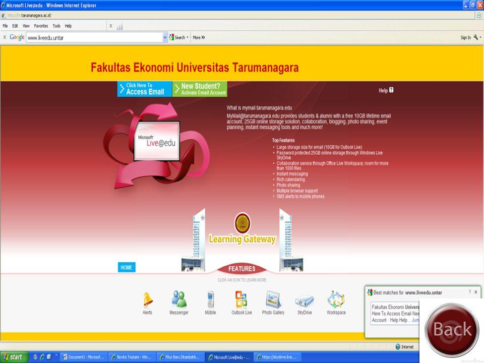 Cara-cara Mengakses Skydrive Masuk Ke Link http://fe.tarumanagara.ac.id/ Pilih more lalu pilih skydriveSkydrive
