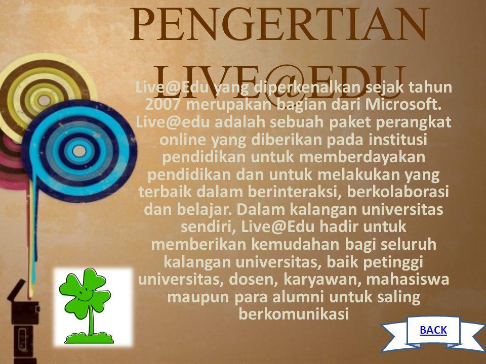 PENGERTIAN LIVE@EDU Live@Edu yang diperkenalkan sejak tahun 2007 merupakan bagian dari Microsoft. Live@edu adalah sebuah paket perangkat online yang d