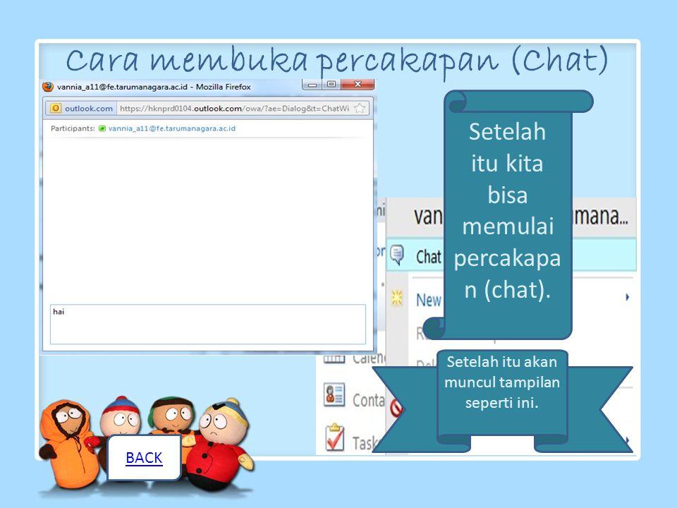 Cara membuka percakapan (Chat) kita klik kanan kemudian klik chat untuk membuka percakapan, atau bisa juga kita double-klik kontak nama yang kita inginkan.