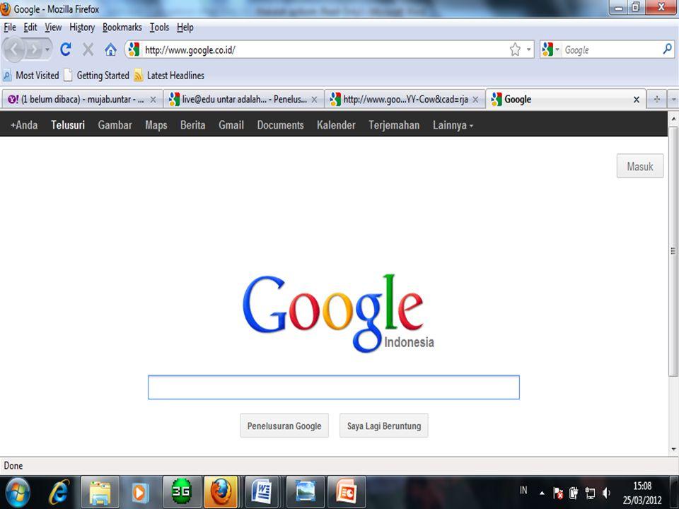 Cara Log in Live@edu PPilih aplikasi internet di PC (( mozilla firefox / internet exploler / google chrome ) MMasukan alamat website UNTAR ( www