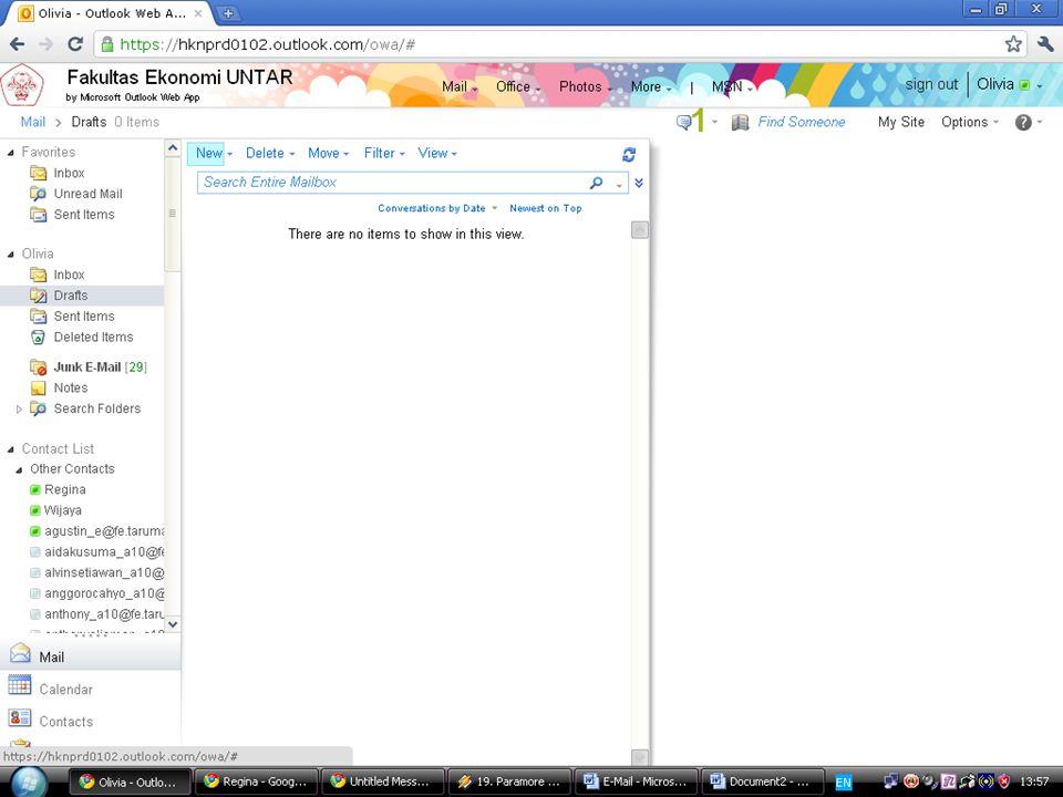 EMAIL  K Klik new yang ada dikolom tengah  S Setelah itu akan muncul tampilan seperti ini : Ketik nama yang ingin anda kirimkan emailnya dikolom T