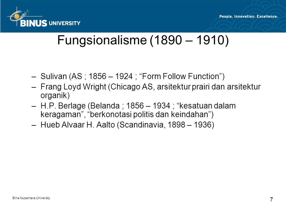 "Fungsionalisme (1890 – 1910) –Sulivan (AS ; 1856 – 1924 ; ""Form Follow Function"") –Frang Loyd Wright (Chicago AS, arsitektur prairi dan arsitektur org"